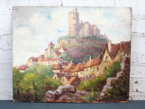 1930's French Oil on Board Village on a Hill Painting