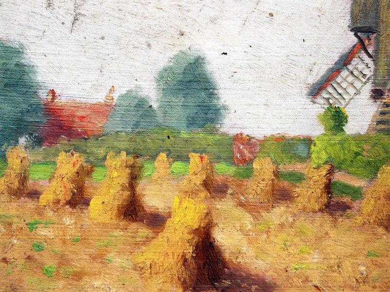 1930's French Oil on Board Painting of a Windmill in a Summer Field