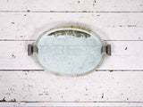 A pretty 1940s Venetian Etched Mirrored Tray with twisted Glass Rim