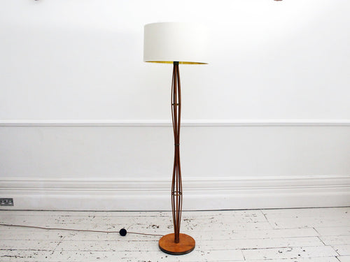 An Unusual 1950's French Wooden Floor Light with Brass Details