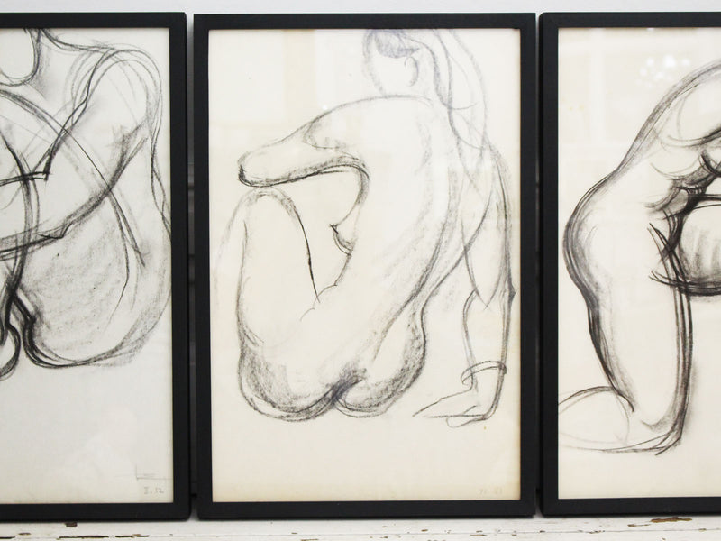 A 1950's French Charcoal on Paper Life Study H963