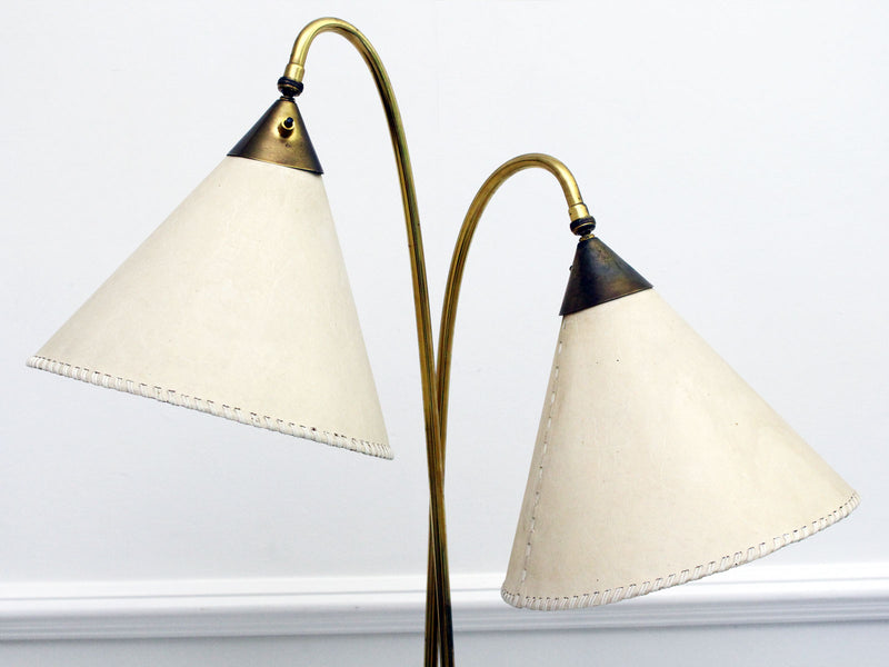 A 1950's French Double Headed Floor Light with Original Ivory Shades