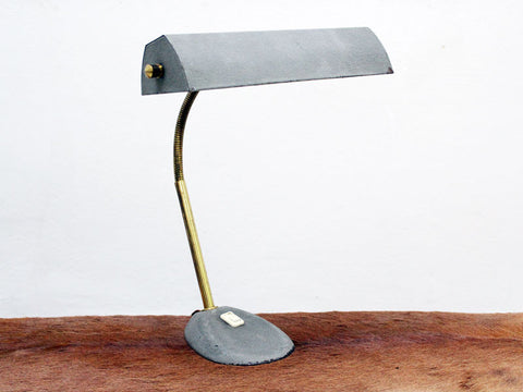 French 1950's Grey Green Metal & Brass Adjustable Desklamp