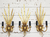 Set of Three 1950's Vintage French Gold Tole Wall Lights