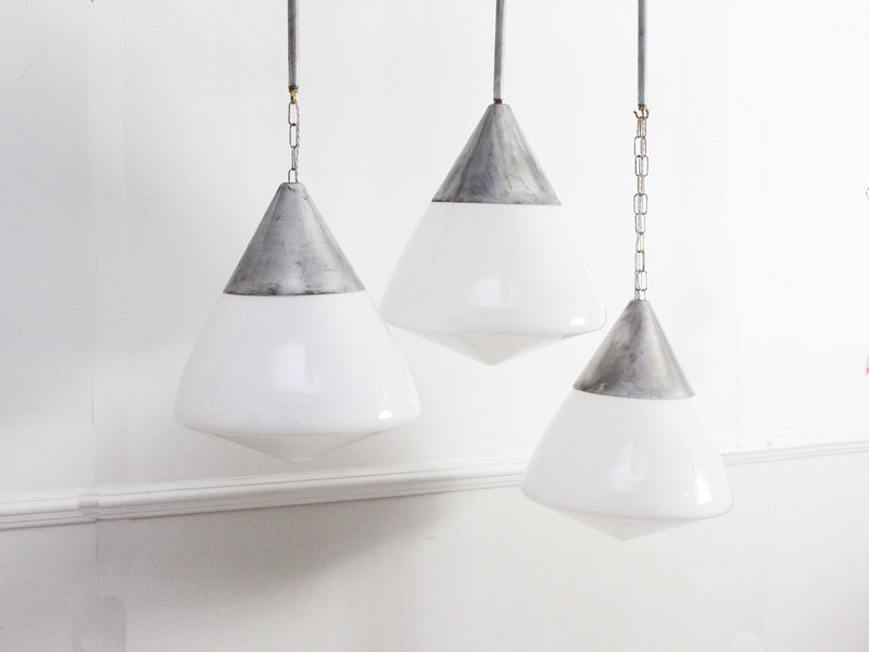 Six Large 1950's French Opaline & Aluminium Pendant Lights - Sold Individually