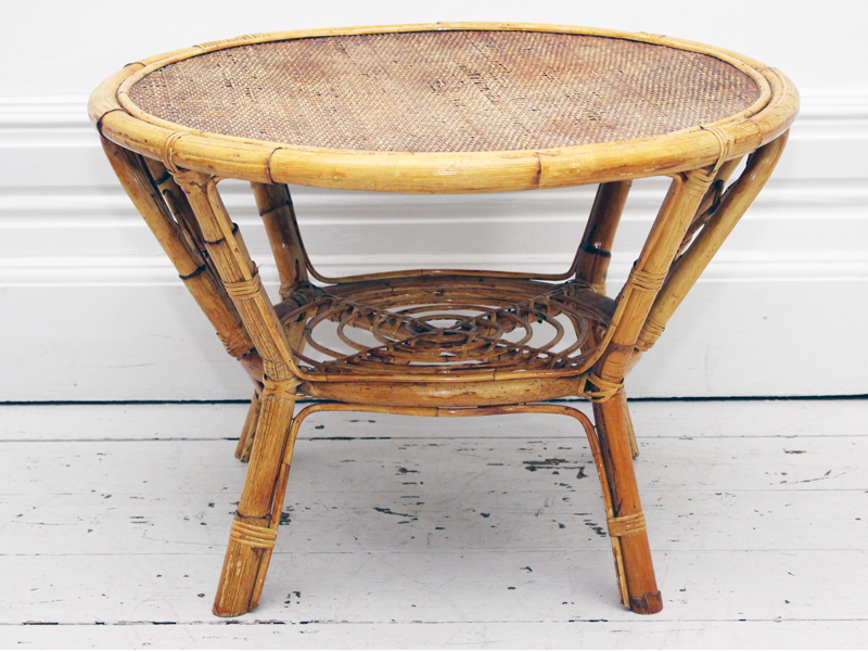 French 1950's Rattan & Bamboo Side or Coffee Table