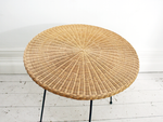 Elegant French 1950's Rattan Breakfast Table on Fine Metal Legs