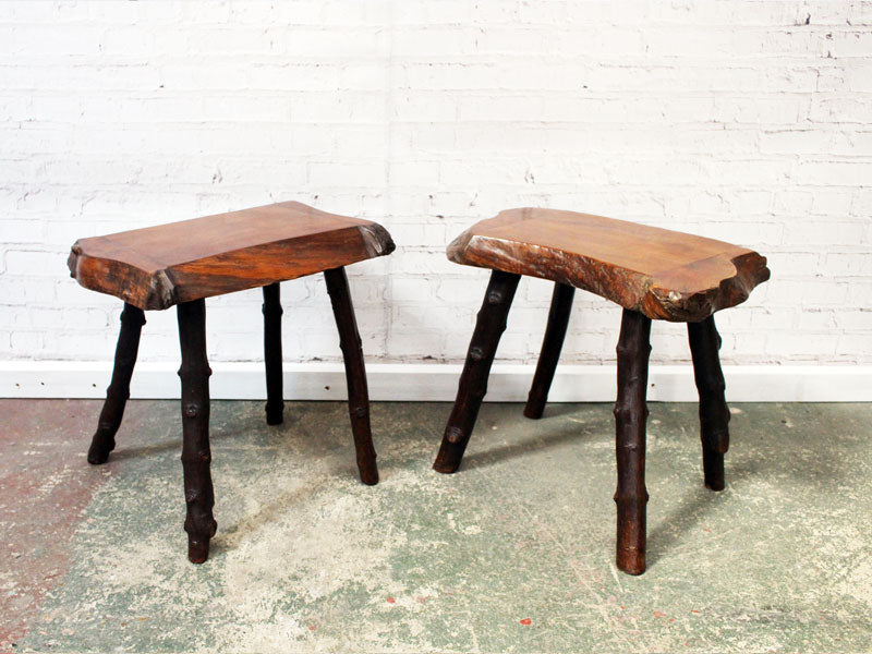 A Pair of 1920's Cherry Wood Folk Art Stool Tables