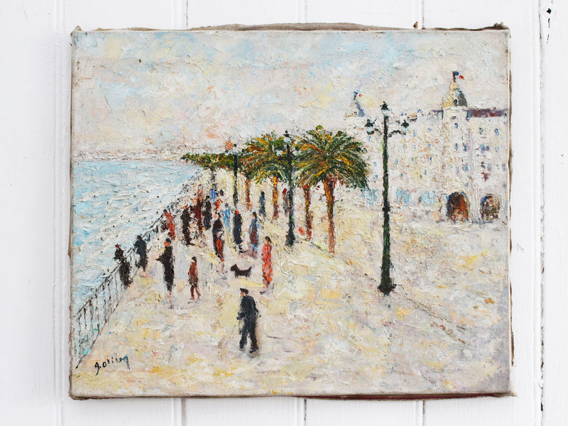 A 1960's Oil on Canvas of Promenade Des Anglais in Nice