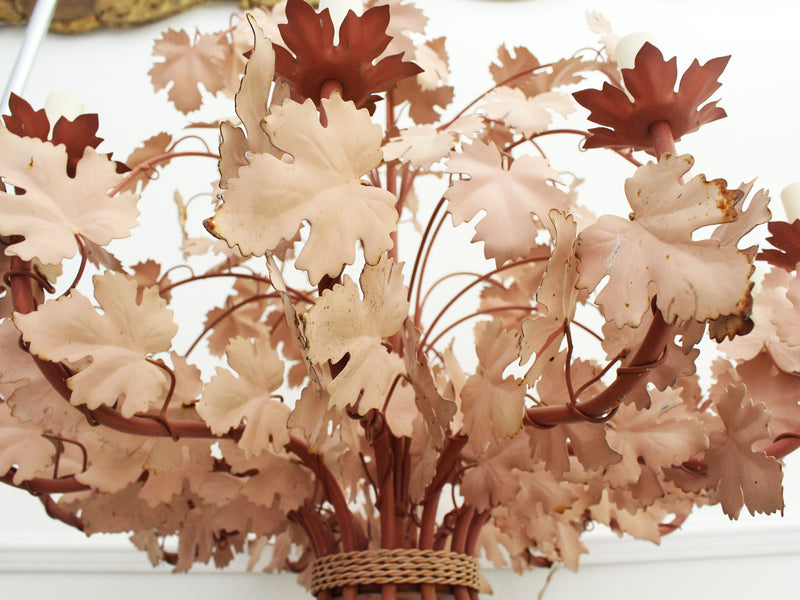An Impressive 12 Arm 1950's French Dusty Pink Metalwork Vine Leaf Chandelier