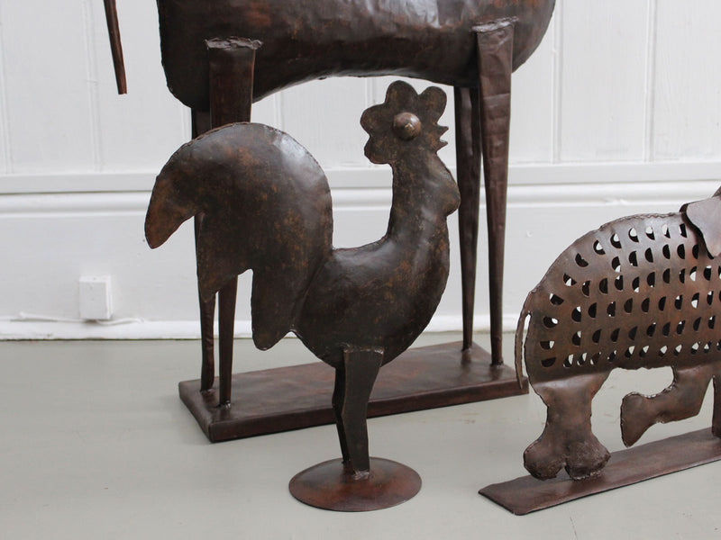 A 1950's Spanish Iron Sculpture of a Rooster