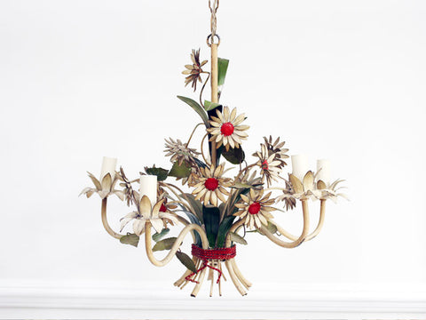 Charming 1950's French Painted Toleware Daisy Flower Chandelier