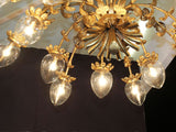 1950's magnificent, French 16 arm gold toleware chandelier