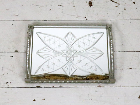 An etched 1930's French Mirrored Tray with Chrome Handles