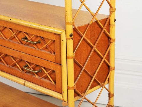 A 1950's French Riviera Rattan Shelf Unit With Two Drawers