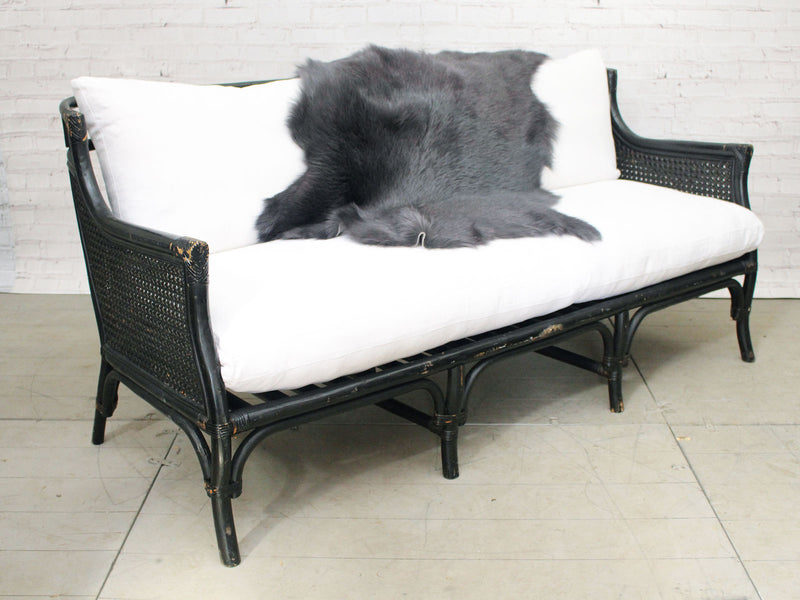 1970's Black Painted Bamboo Sofa by Ficks & Reed with Antique White Linen Cushions
