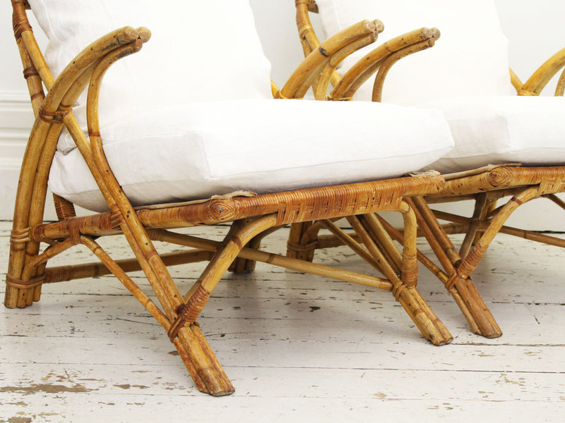 A Pair of 1950's Bamboo Armchairs by Angraves