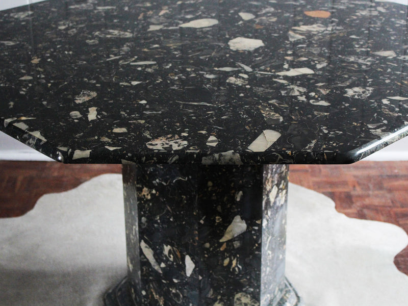 Octagonal 1970's Black Flecked Marble Dining Centre Table