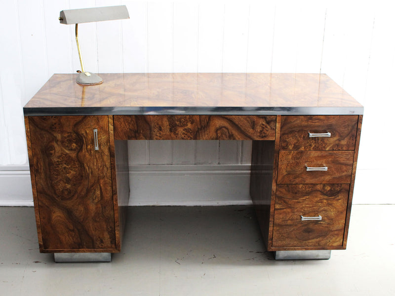 A 1970's American Faux Burr Walnut & Chrome Desk