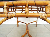 1970's French Riviera Style Bamboo Glass Topped Dining Table