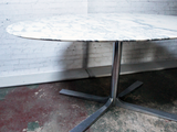 1970's Oval Carrara White Marble Ligne Roset Dining Table with Aluminium Base