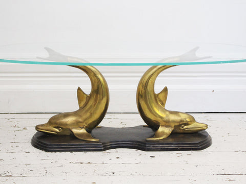 An Elegant Italian Brass & Glass 1970's Console Table