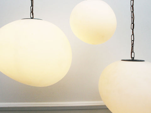 Wonderful 1970's Opaque White Glass Bubble Pendant Lights - 6 Available