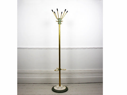 A 1970's French enamelled & brass coated industrial coat stand