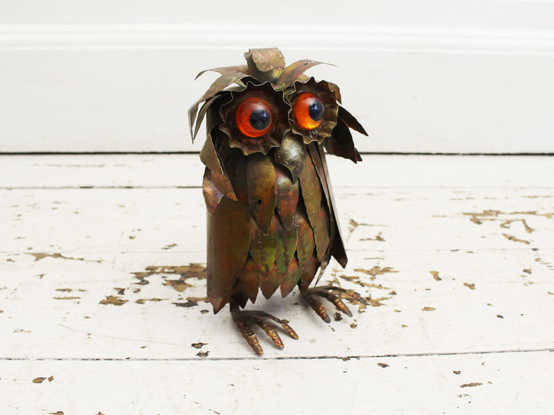 A 1960's French Brutalist Metal Owl Sculpture in the style of Curtis Jere 2