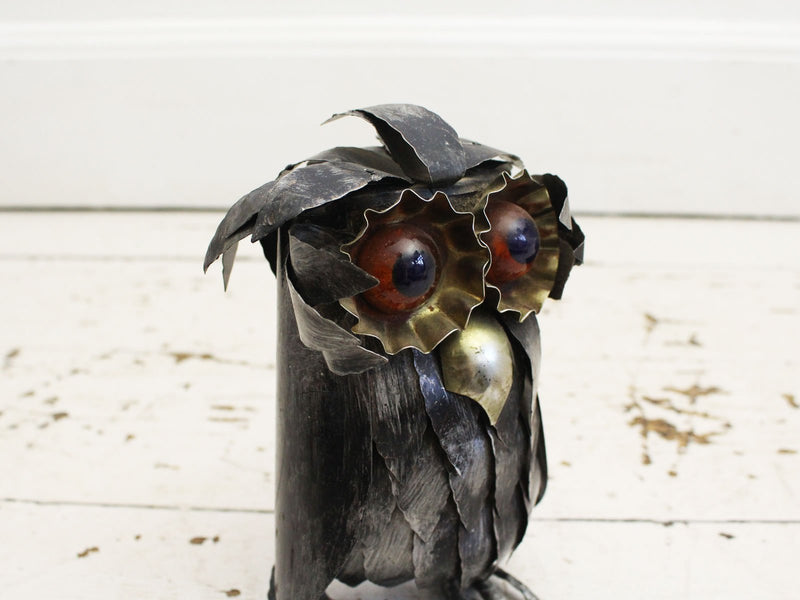 A 1960's French Brutalist Metal Owl Sculpture in the style of Curtis Jere 1