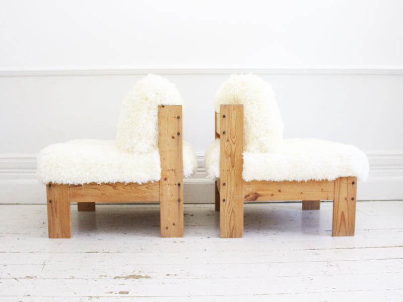 A Cool Pair of French 1970's Pine Lounger Chairs with Sheepskin Upholstery
