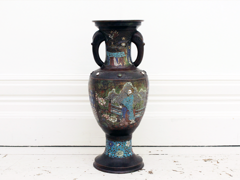 A Large 19th Century Chinese Bronze Cloisonné Enamelled Vase