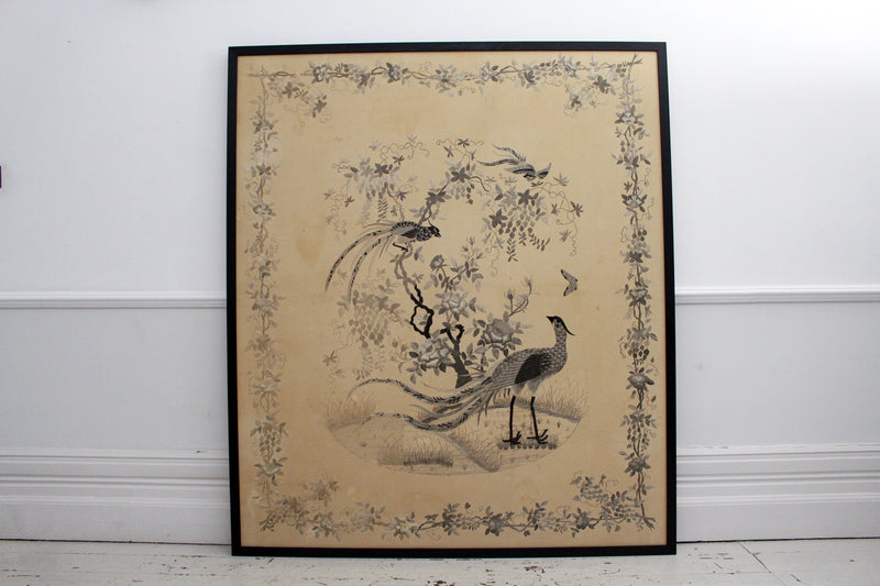 An Exceptionally Large Antique Monochrome Chinese Hand Embroidery in Black Frame