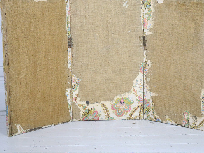 A Napoleon III decorative paper on hessian screen