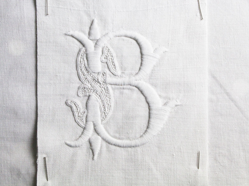 30cm Square Cushion - Antique French Monogram B on Linen P3018