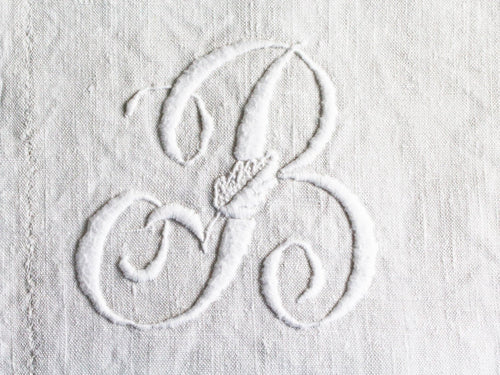 30cm Square Cushion - Antique French Monogram B on Linen P3045
