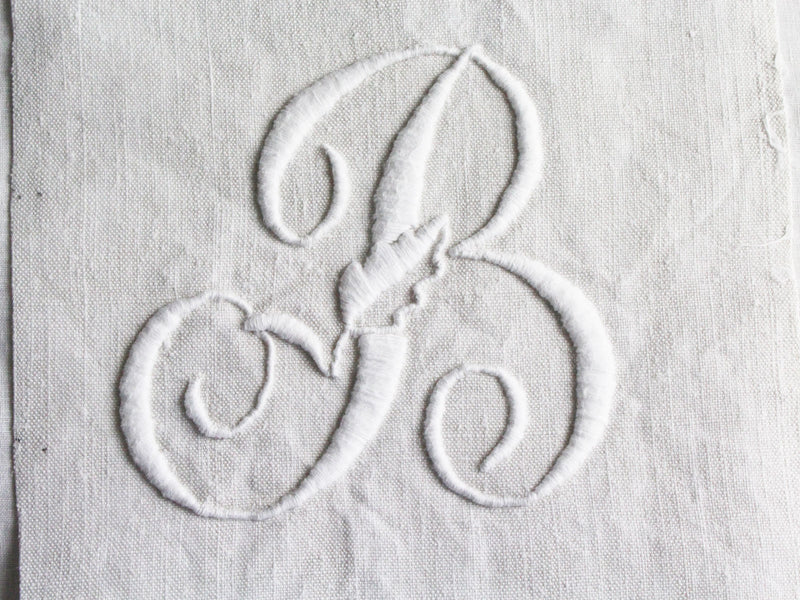 30cm Square Cushion - Antique French Monogram B on Linen P3048
