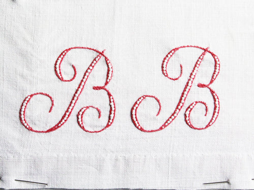 30cm Square Cushion - Antique French Monogram BB on Linen P3017