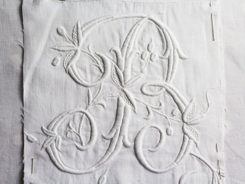 B Monogram 40cm Square Cushion - Antique French Embroidery on Linen P4014