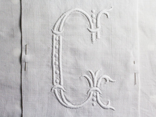 G 40cm Square Cushion - Antique French G Monogram on Linen P4011