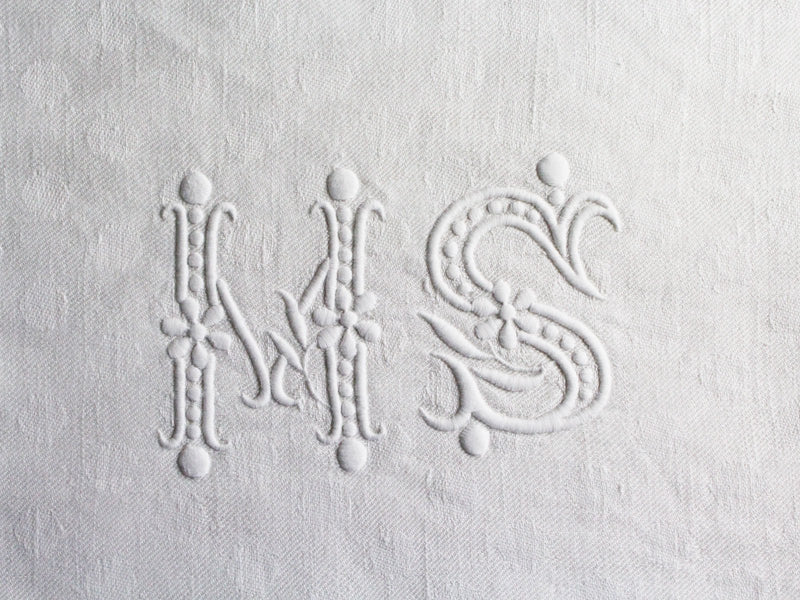 MS 40cm Square Cushion - Antique French MS Monogram on Linen P4060