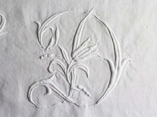 D 50cm Square Cushion - Antique French D Monogram on Linen P5035