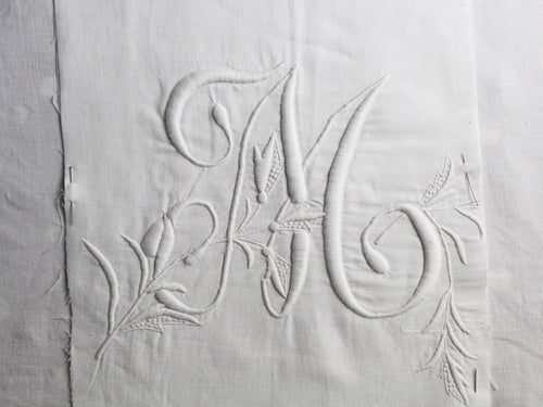 M 50cm Square Cushion - Antique French M Monogram on Linen P5010