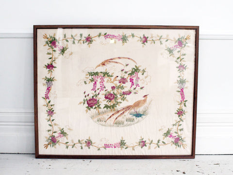 A 1920's Antique White Chinese Panel Embroidered In Pink Tones and Framed