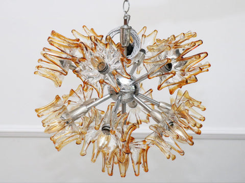 1970's Super Cool Murano Amber Glass Splash Sputnik Pendant Light