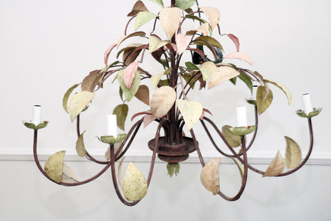 A French 1970's Painted Green & Pink Metal Leaf Chandelier with 8 Arms