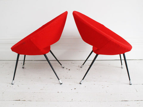 1950's pair of Italian round metal-framed red chairs in the style of Augusto Bozzi