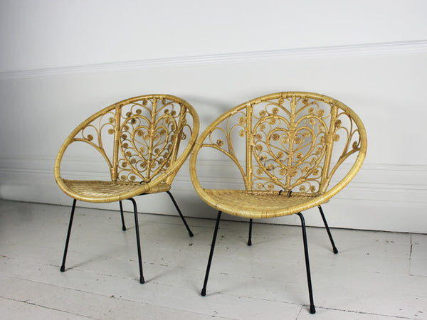 A pair of 1960s bucket rattan chairs with heart shaped  : Apairof1960sbucketrattanchairswithheartshapeddesign4grande from streettmarburg.co.uk size 600 x 450 jpeg 39kB