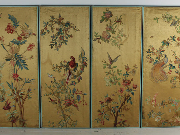 A set of 4 hand decorated silk screen panels with exotic birds & flowers