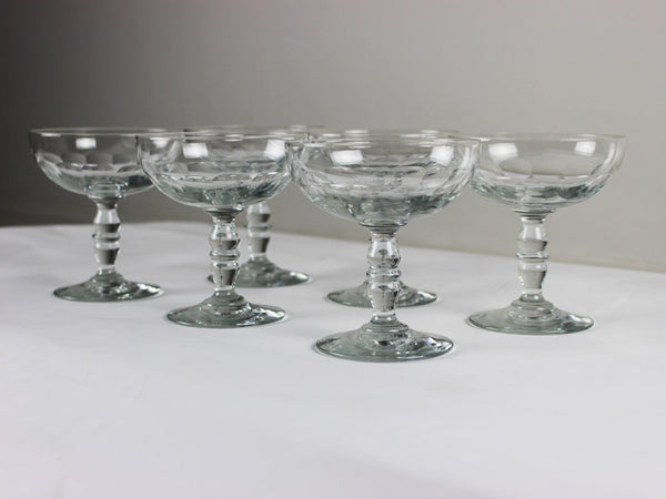 A set of 6 vintage French Champagne coupes